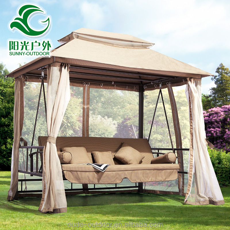 Factory price outdoor garden swing chair hanging bed with canopy and curtain high quality