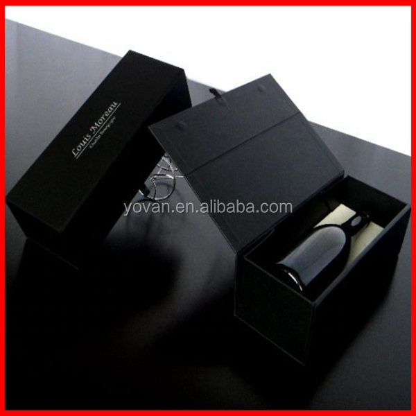 New design black luxury cardboard paper wine gift box with magnet