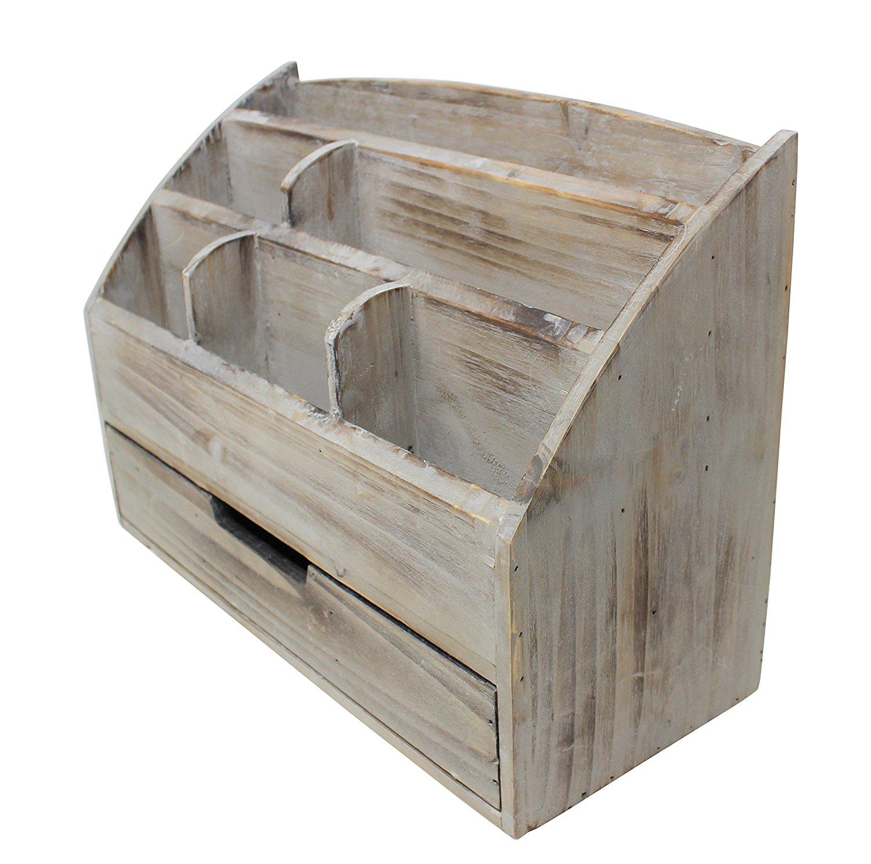 Get Quotations · Vintage Rustic Wooden Office Desk Organizer U0026 Mail Rack  For Desktop, Tabletop, Or Counter