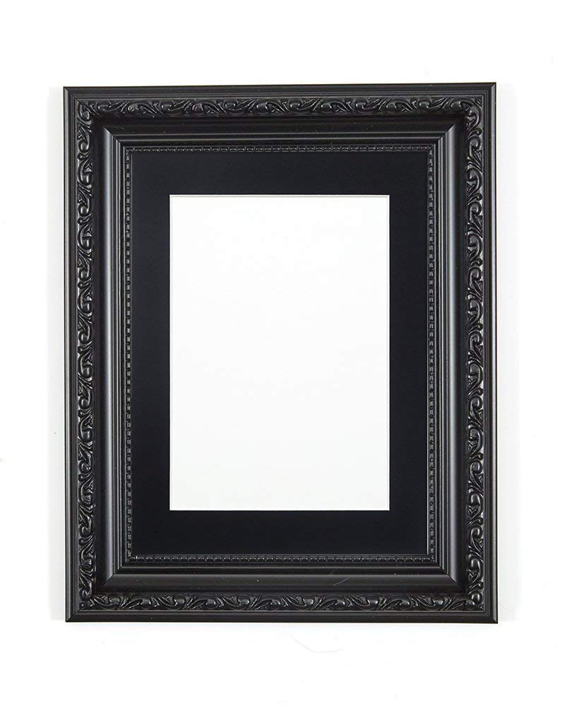 "FRAME Company Ornate Shabby Chic Picture/Photo/Poster With A High Clarity Styrene Shatterproof Perspex Sheet 24""x18"" for 18""x12"" picture Black with Black Mount"