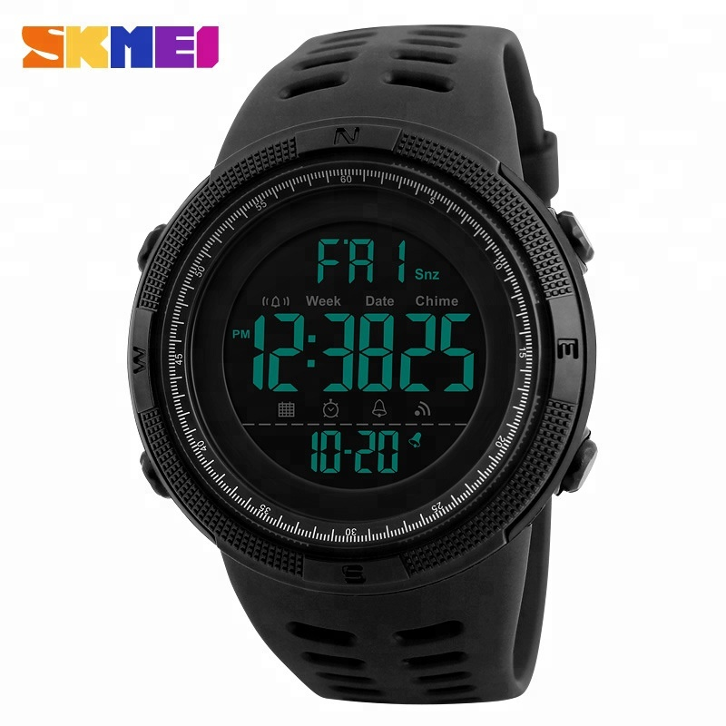 Skmei 1251 Men Sports Watches Countdown Double Time Watch Alarm Chrono Digital Wristwatches 50M Waterproof Male Clock, 6 colors