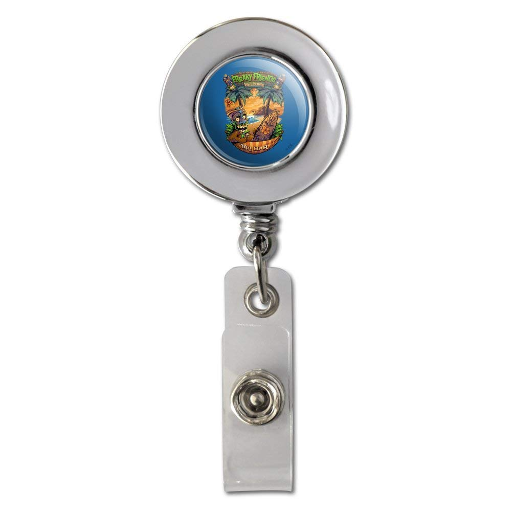 Freaky Friends Tiki Bar Tropical Vacation Retractable Reel Chrome Badge ID Card Holder Clip