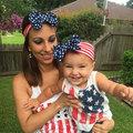 2pcs set USA Parent Child Family Hairband Mother Baby Headdress Flower Fabric Infant Bow Headbands Kids