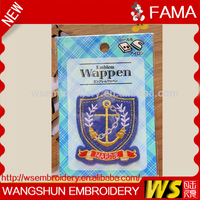 Cheap Wholesale Washable Eco-Friendly Emblem Wappen Embroidery Uniform Blazer Badges