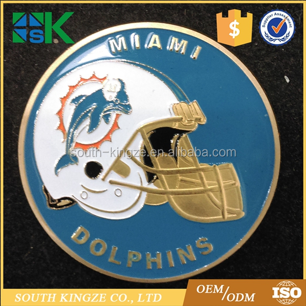 Gold plated for souvenir NFL Miami DOLPHINS Football Team Challenge Coin
