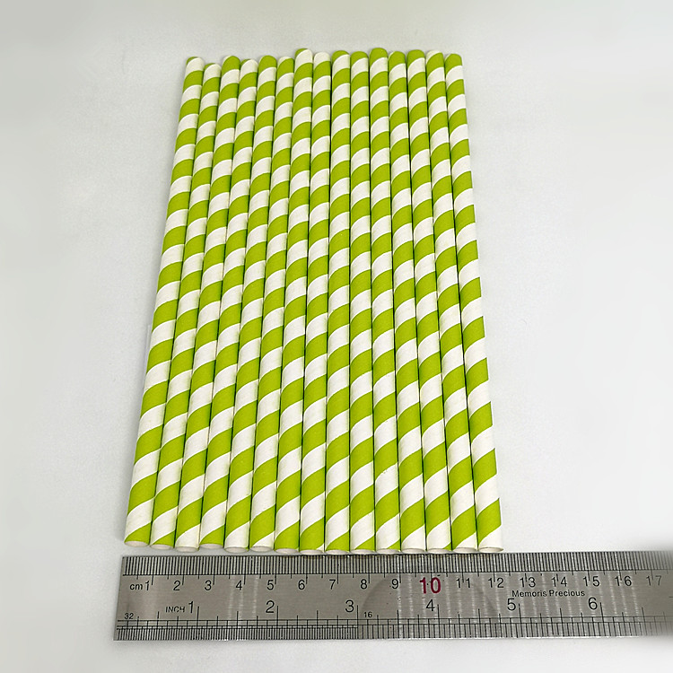 8x215MM Disposable degradable Green Striped Bar Eco Paper Drinking Straw