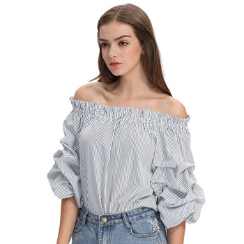 Women latest off shoulder styles casual blouse designs images