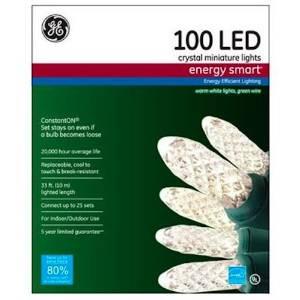 GE GE97416 Christmas White Crystal Miniature Light Set LED 100-Count