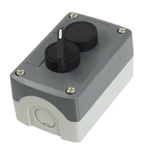 Water & Wood 240V 3A NO 2-Position Selector Latching Black Flat Momentary Push Button Station