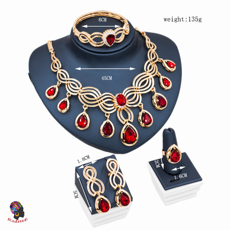 Gzmadison New Fashion Women's 18k Gold Plated Austrian Crystal Necklace Bracelet Earring Ring Jewelry Sets