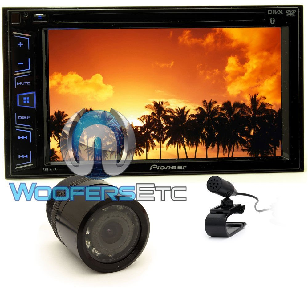 """pkg Pioneer AVH-270BT 2-DIN 6.2"""" Touchscreen LCD DVD/CD/MP3 Stereo Receiver with Bluetooth+XO Vision Backup Camera with Nightvision"""