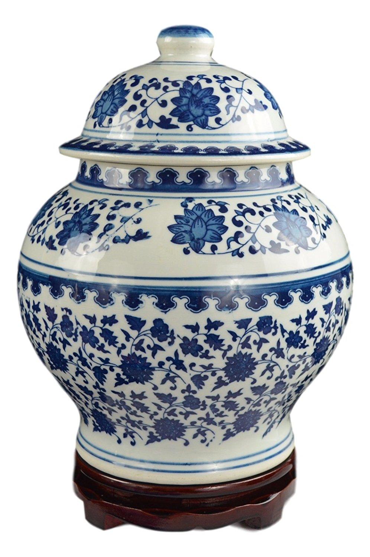 Classic Blue and White Porcelain Covered Jar Vase, China Ming Style, Jingdezhen, Free Wood Base