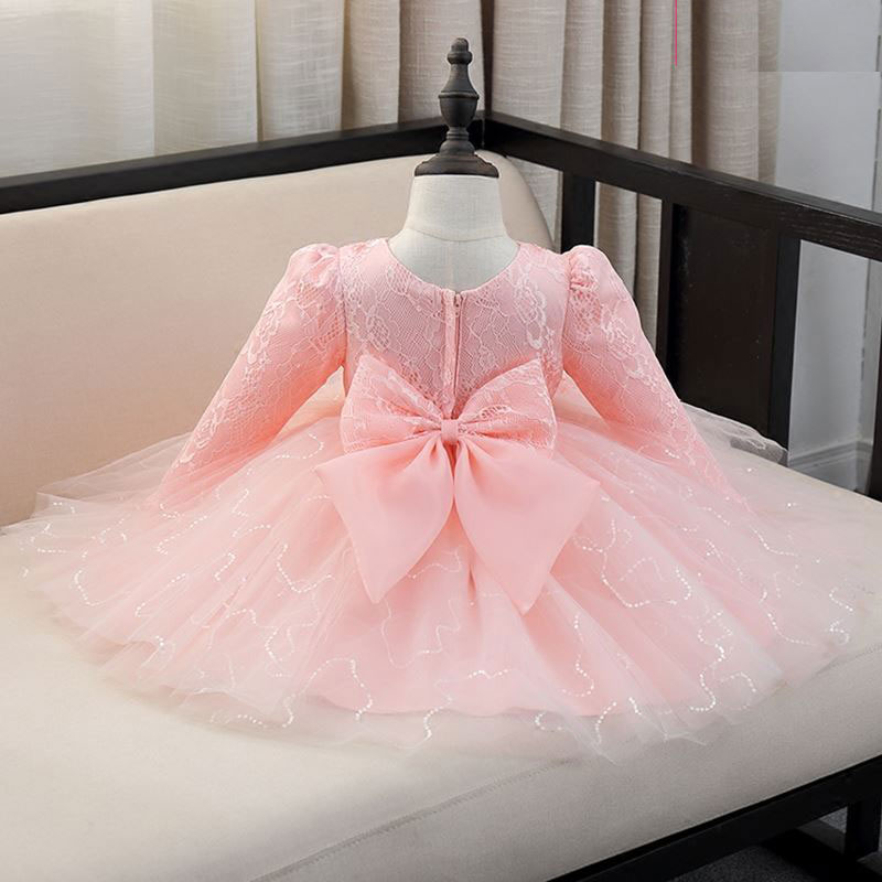 a60757edd7025 Top Quality Sequin Red/White/Pink baby girls 1 year old birthday dress long  sleeve appliques baptism christening wedding gown-in Dresses from Mother &  ...