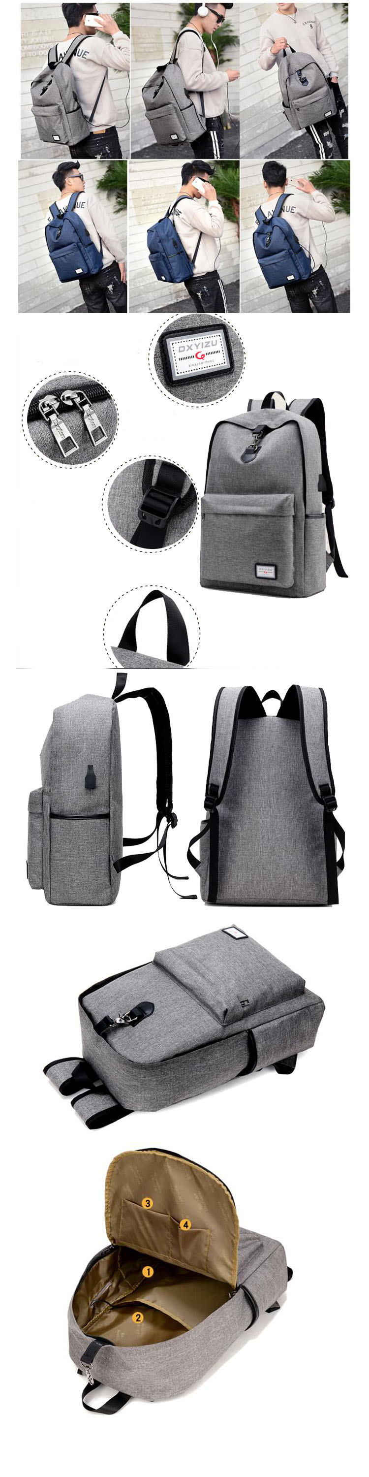 fd402825626f 2018 new design mens canvas laptop backpack with mobile phone charger