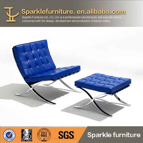 Modern le corbusier blue leather barcelona chair