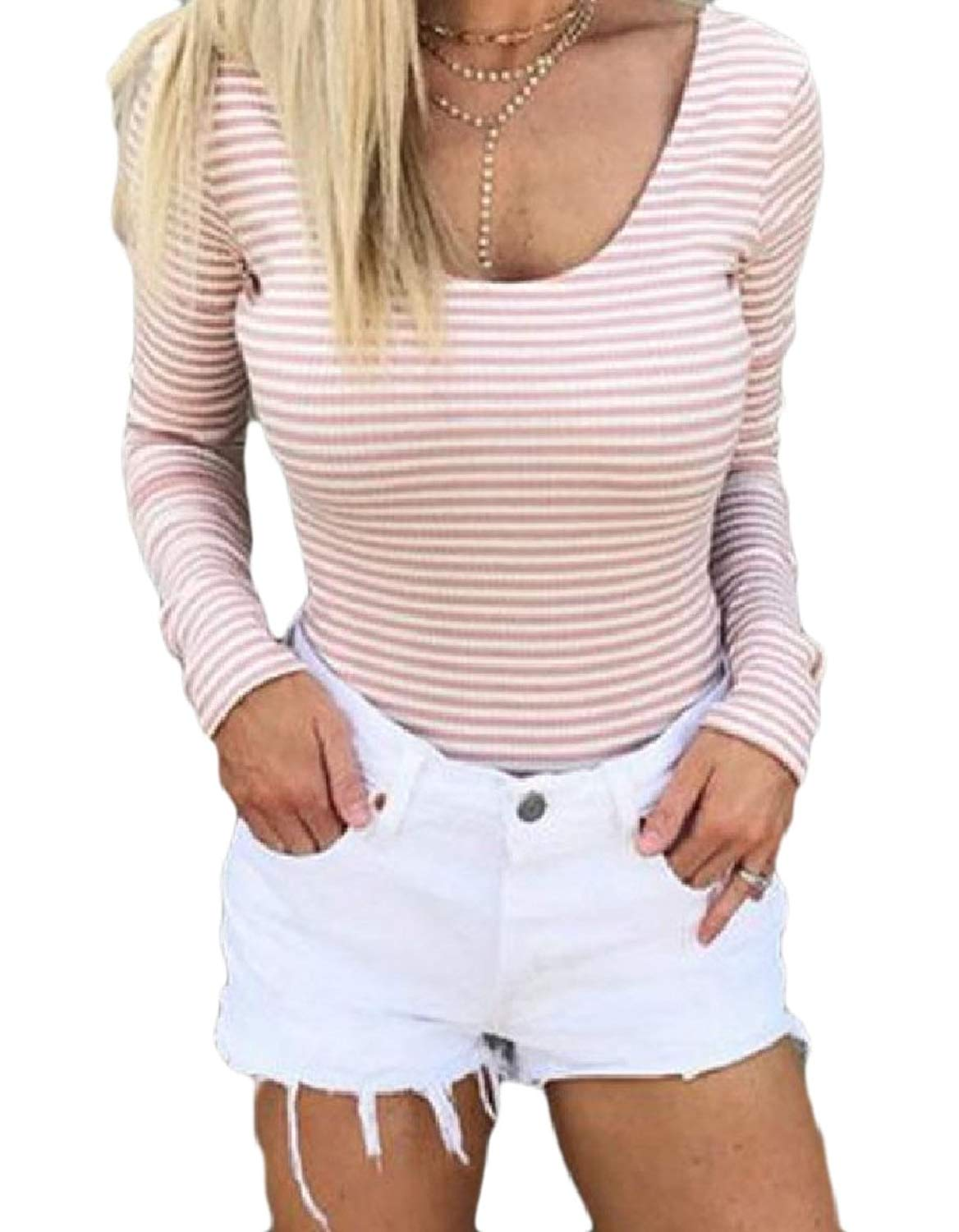 Zimaes-Women Bowknot Backless Skinny Crew Neck Long-Sleeve Pinstripe Sexy Tunic Top Shirts
