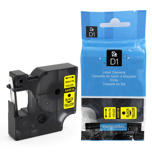 wholesale xiwing compatible 6mm tape black on yellow 43618 tape cassette for dymo label printer