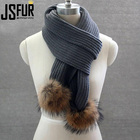 Wool Blend Knitted Winter Scarf with Real Fur Pompoms Rib Patterns Knitting Scarf with Fur Ball