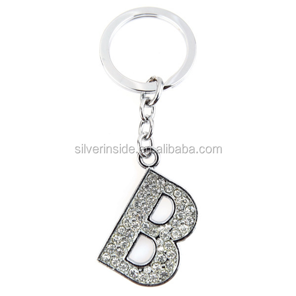 clear Name Alphabet Initial Letter B Keychain Key Ring Wedding Gift Cham