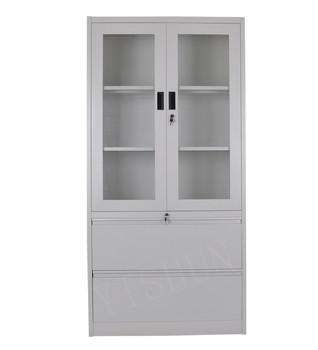 Double Glass Doors Office Metal Storage Steel Cabinet Buy Two