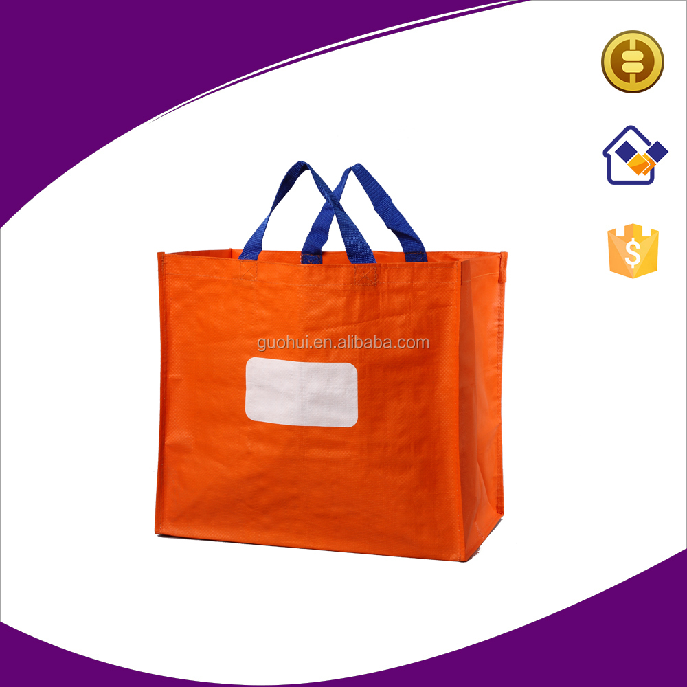 Recycle laminated garbage bag,PP woven tote bag with PE bottom