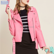 Europe fashion pink color long sleeve zipper-up women leather jacket biker