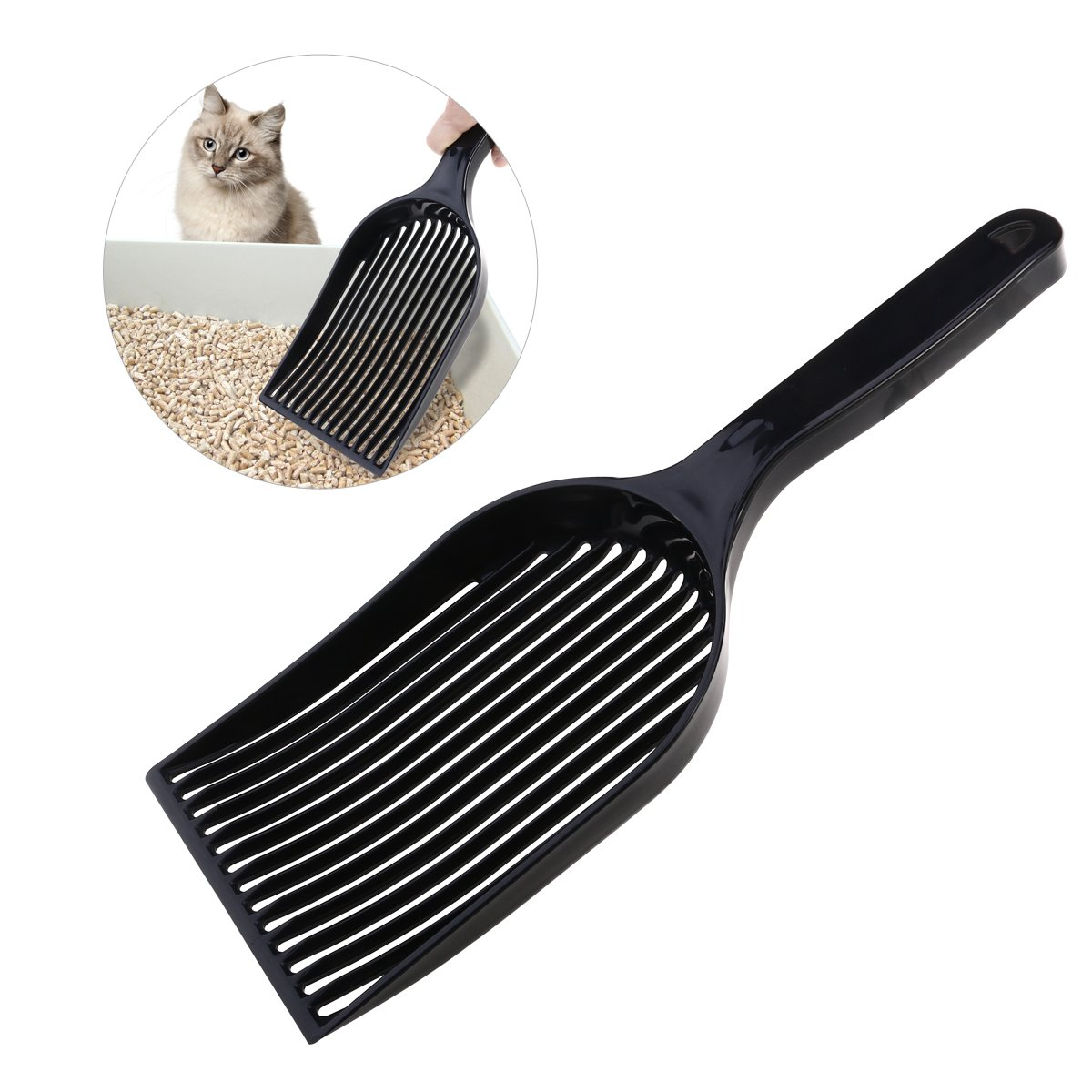 UEETEK Cat Litter Scoop, Large Pet Kitty Dog Litter Box Cleaner Shovel Durable Plastic Sifter Shovel (Black)