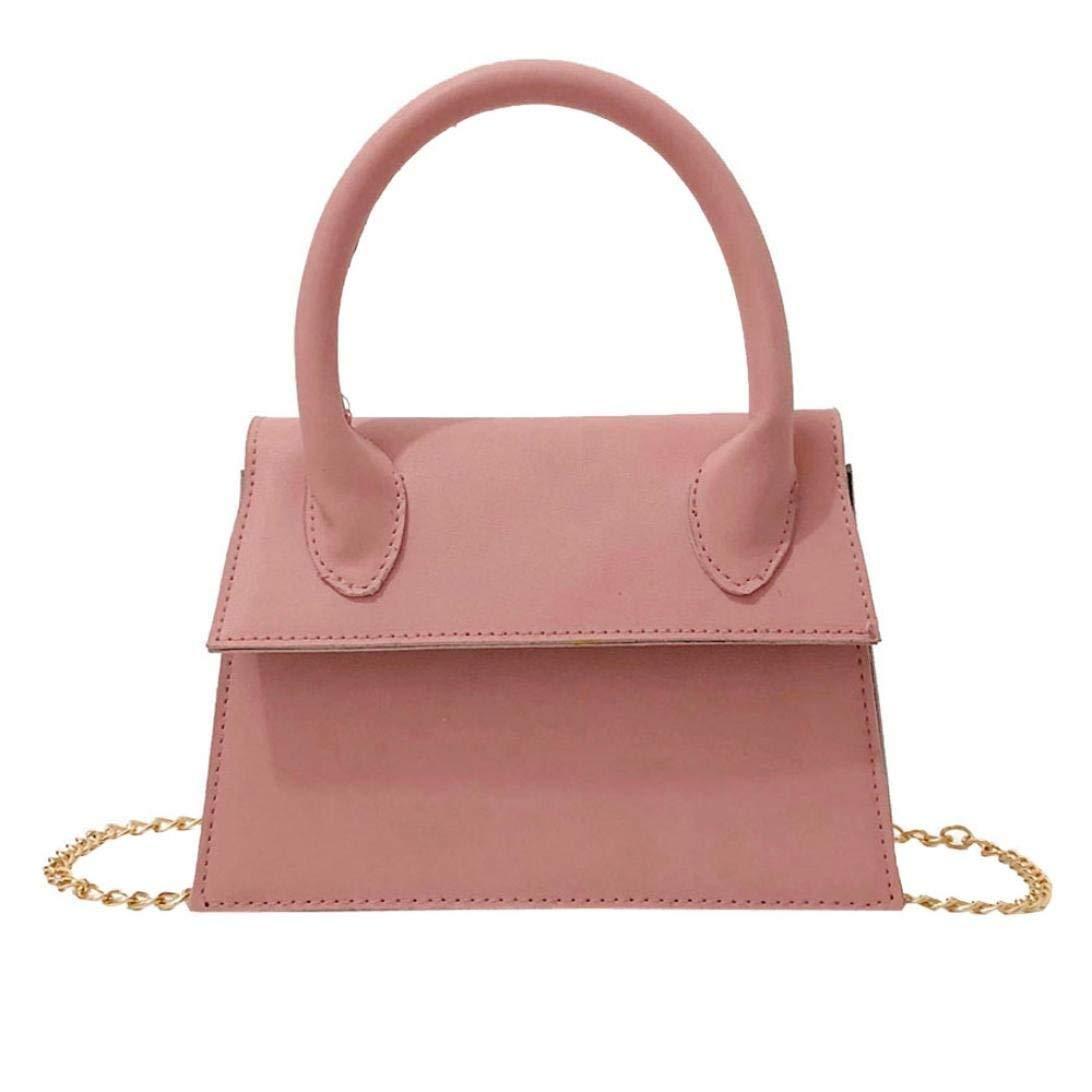 Women's Handbag Leather Pure Color Crossbody Bag Phone Bag Shoulder Bag Hand Bag (Pink)