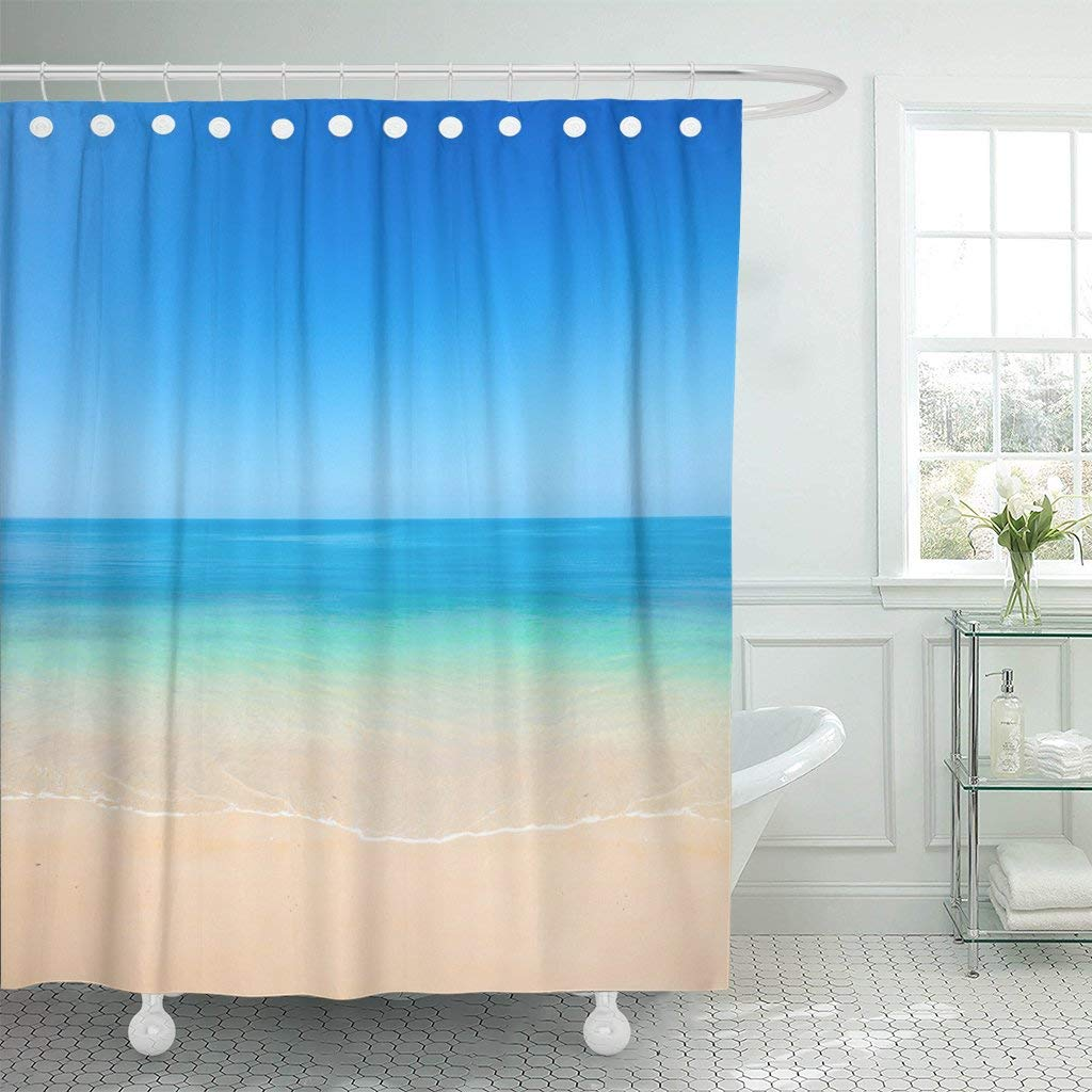 Get Quotations Emvency Shower Curtain Curtainsblue Scene Beach And Sea Yellow Ocean Horizon Tropical Sunny Holiday Peace Sun