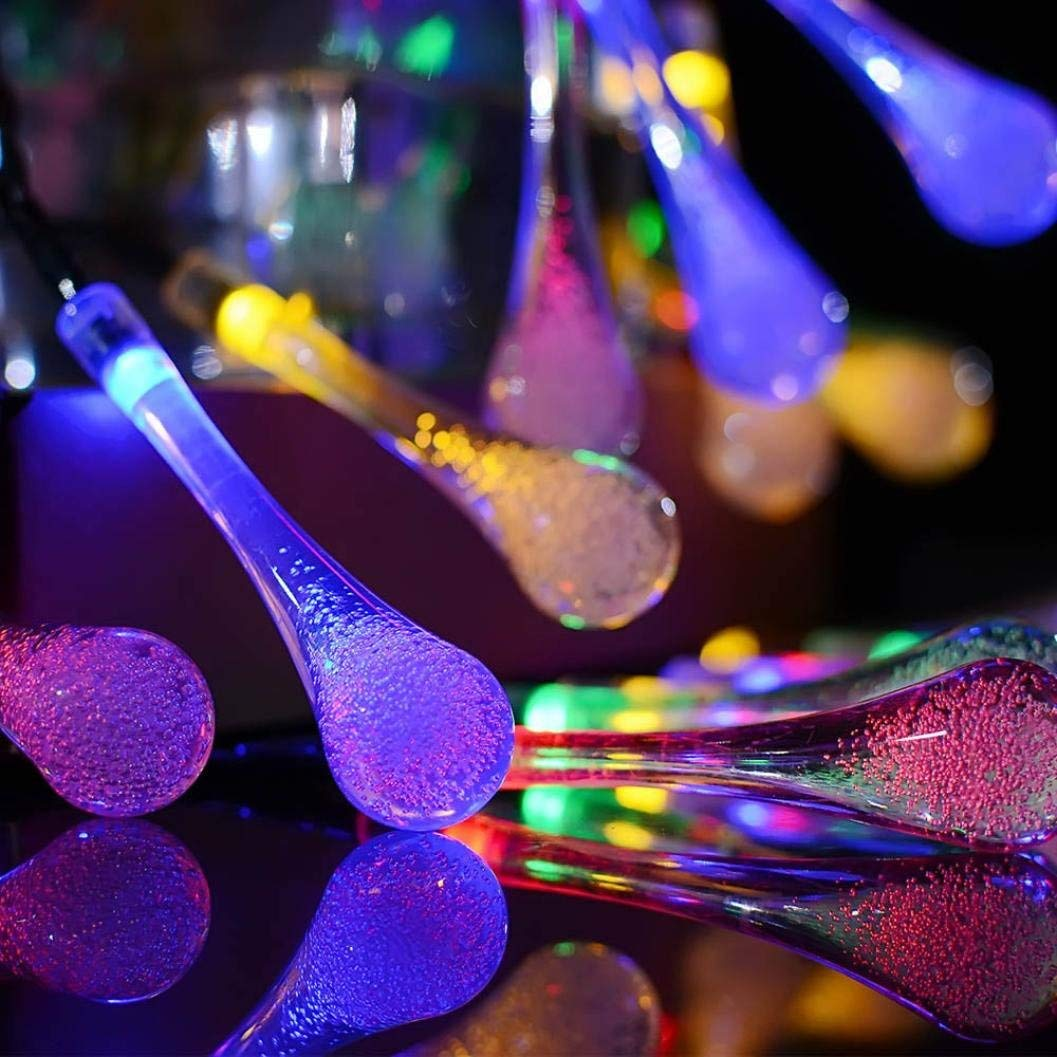 Dacawin Fairy Lights For Outdoor Garden Party 20 LED Raindrop Teardrop Solar Powered String Lights (Multicolor)