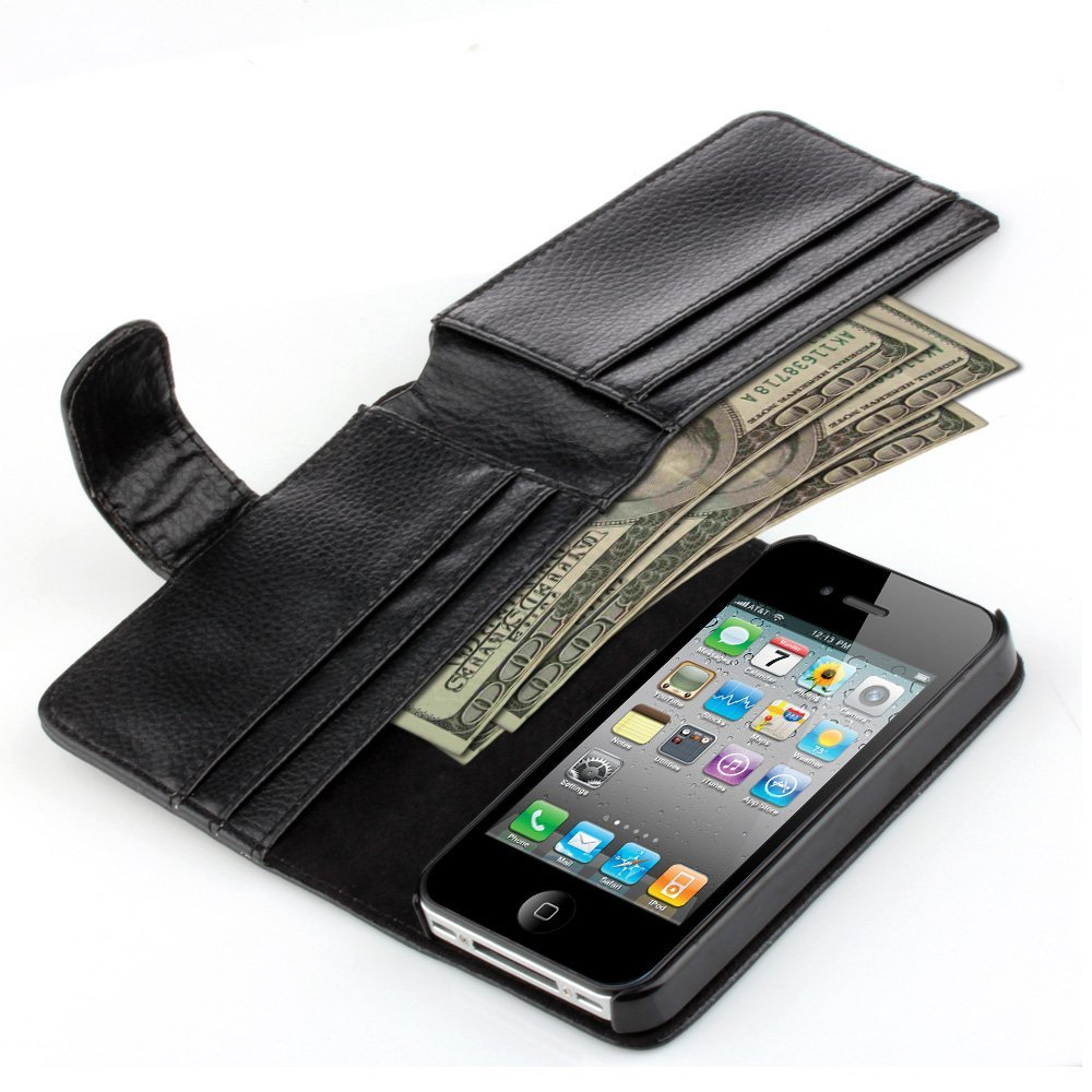 TNP iPhone 4S Wallet Case - Synthetic Leather Wallet Case Flip Cover with Credit ID Card Slots and Money Pocket for Apple iPhone 4 4G 4S (Black)