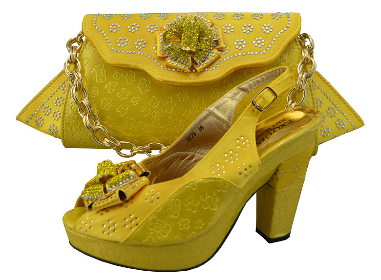 7e1ea2d1d715 Get Quotations · Wholesale price Italian yellow women shoes and bags set  with sequins Top quality African shoes and