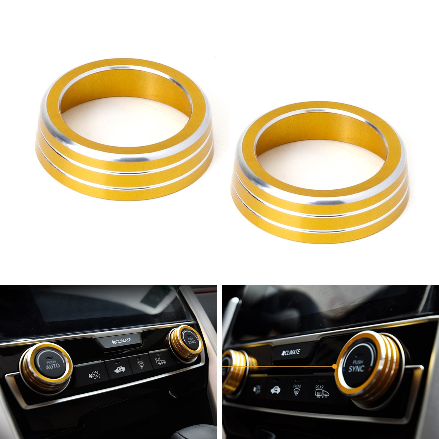 iJDMTOY 2pcs Red Anodized Aluminum AC Climate Control Ring Knob Covers For 2016-up 10th Gen Honda Civic