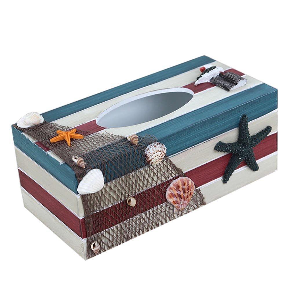 SUNONE11 Vintage Blue Wooden Tissue Box Mediterranean Style Ocean Theme Fishing nets Shell Starfish Boat Seagull Rectangular Paper Towel Box Napkin Organizer Holder