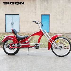 SIBON lithium battery suspension fork brushless motor adult red 48v 1000w electric chopper bike