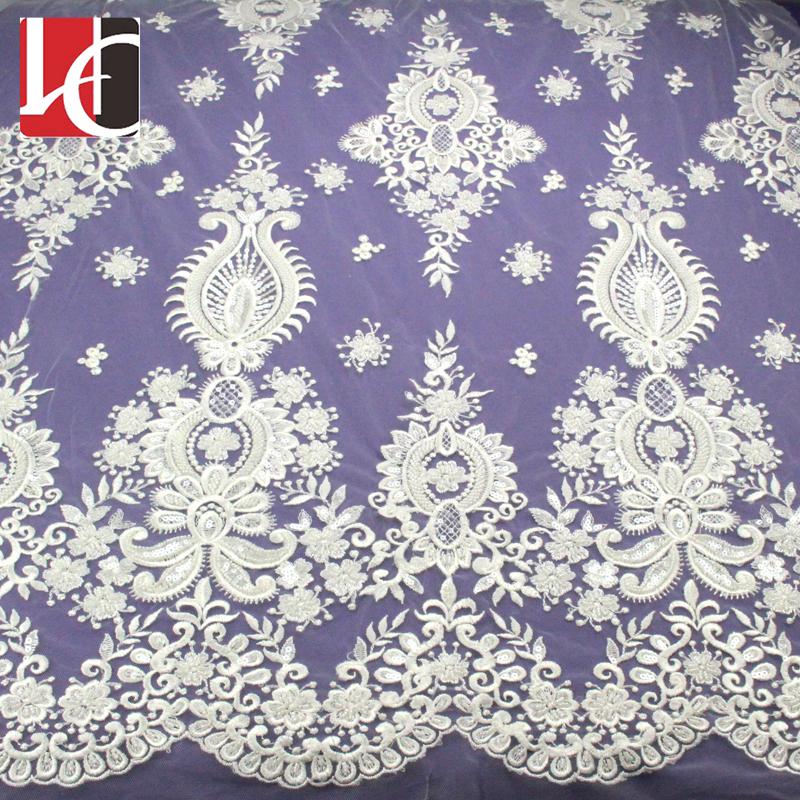 HC-4557 Hechun elegant design handmade bead embroidered lace fabric фото