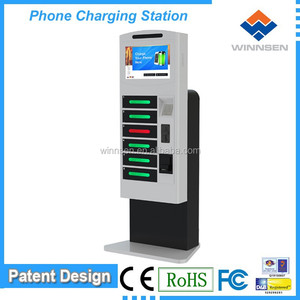 Money making machine! Floor stand coin/cash/card operated fast mobile phone charger station phone charging kiosk APC-06B