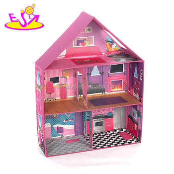 2018 New Hottest Miniature Pink Wooden Dollhouse Toy For Girls