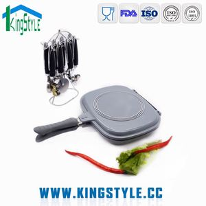 Professional die-casting marble coating iron twin fry pan with square fry pan lid