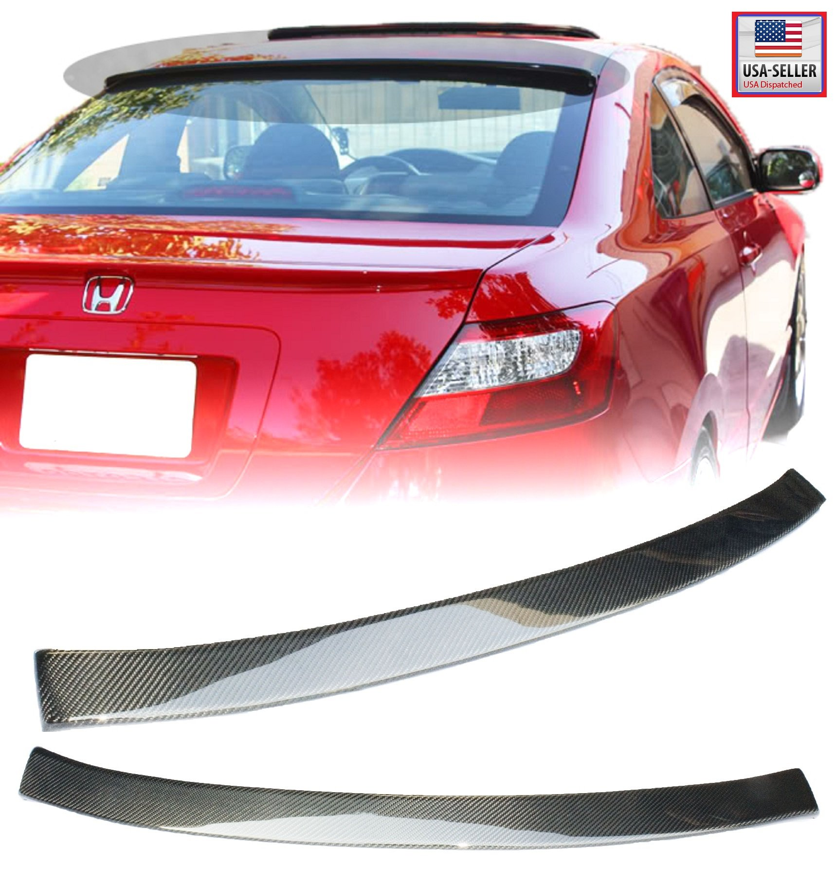06-11 Honda Civic 2 Door Coupe Carbon Fiber Rear Roof Visor Spoiler Wing 2006 2007 2008 2009 2010 2011