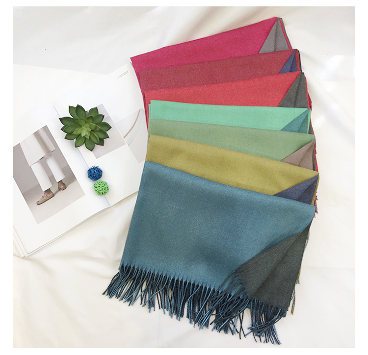 Blue color Acrylic quality fake cashmere scarf shawls for women