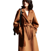 New Fashion Wholesale Cashmere Sheep Ladies Wool Coat with Belt Winter Long Handmade Oversized Women Cashmere Wool Coat