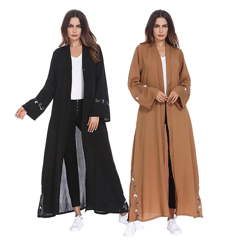 d3dc3a32cd Zakiyyah 1209 Mais Recente Estilo Turco kaftan Vestido Abaya Roupas Kimono  Frente Open Design Preto com