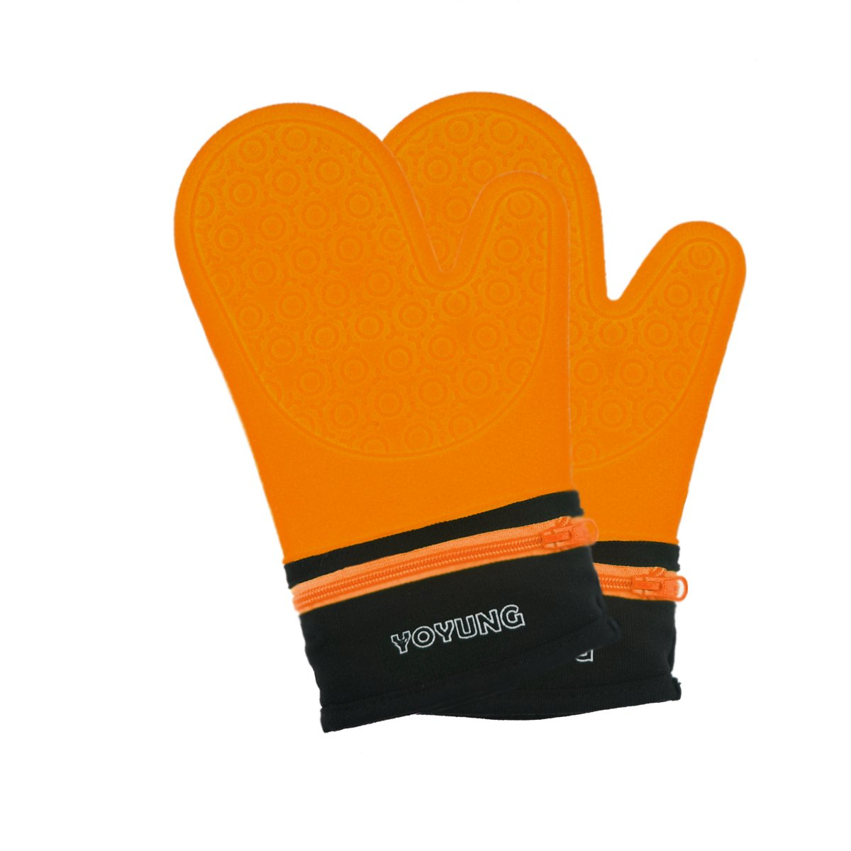 Detachable Silicone Oven Mitt - Oven Mitts with Quilted Cotton Lining -1 Pair of Professional Heat Resistant Potholder Gloves - Washable - Orange
