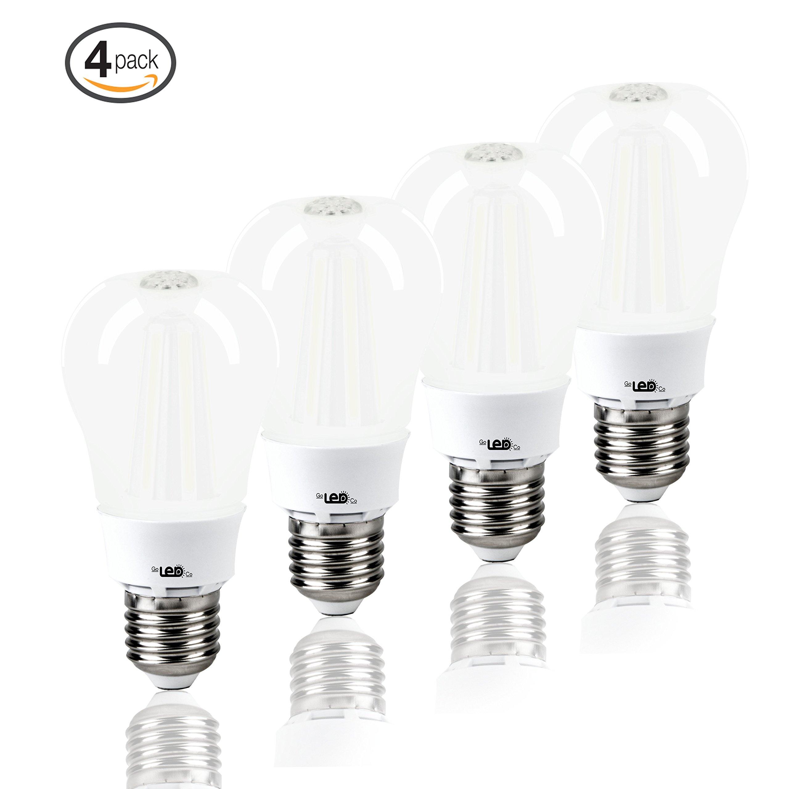 LED Light Bulbs for Home 60 watt Equivalent 8 Watt lights A19 Brightest Bulb Energy Star Soft White Glow Lighting 3000K 810 Lumens 2 Year Warranty 4-Pack