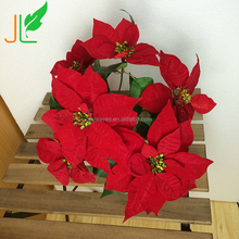 7 Heads Artificial Christmas Flowers Red Silk Flowers Bunch for Christmas Decoration