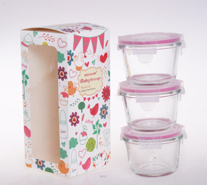 Newest Design Baby Food Glass Container Set BPA Free Air Tight And Leak Proof