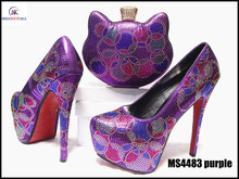 MS4483 Purple Italy Sexy Ladies Rhinestone High Heels Platforms Wedding Shoes Party Dress African Shoe Bag Set