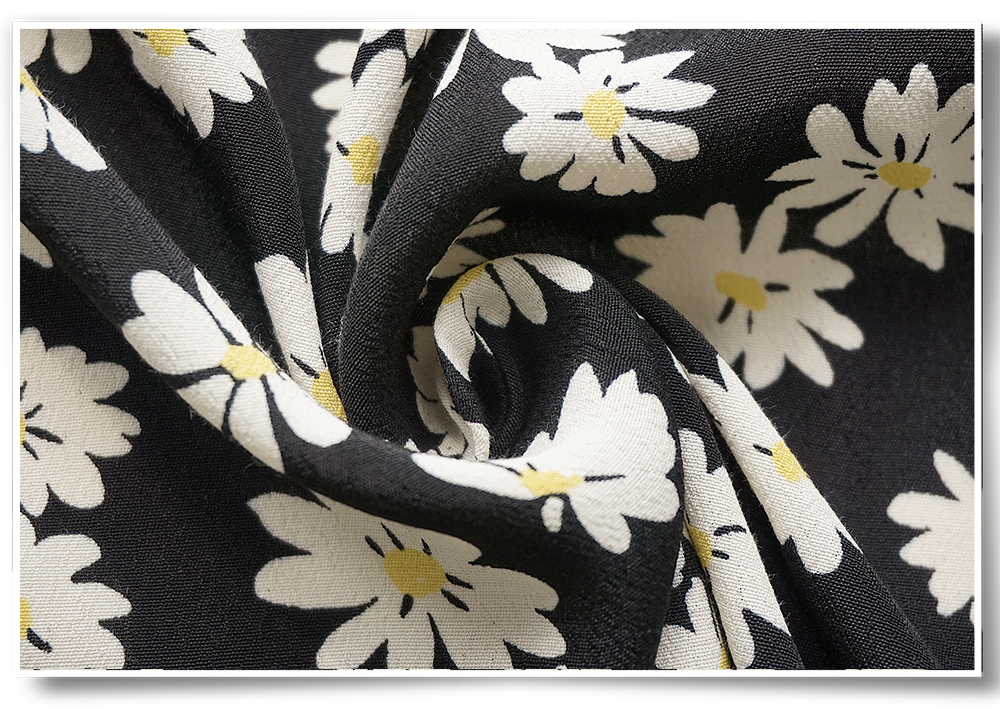 Fancy design cheap price custom daisy floral printed viscose crepe fabric for dress
