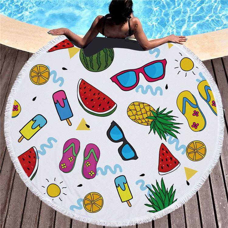 Frutti di Stampa Modello Girocollo Telo da mare con Nappe